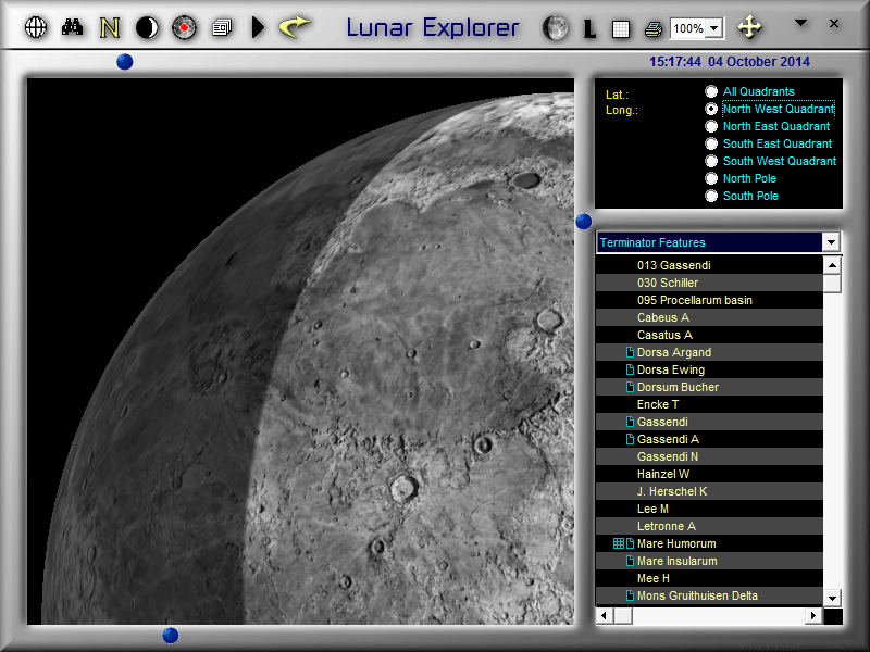 Zoom into LunarPhase Pro's Moon map