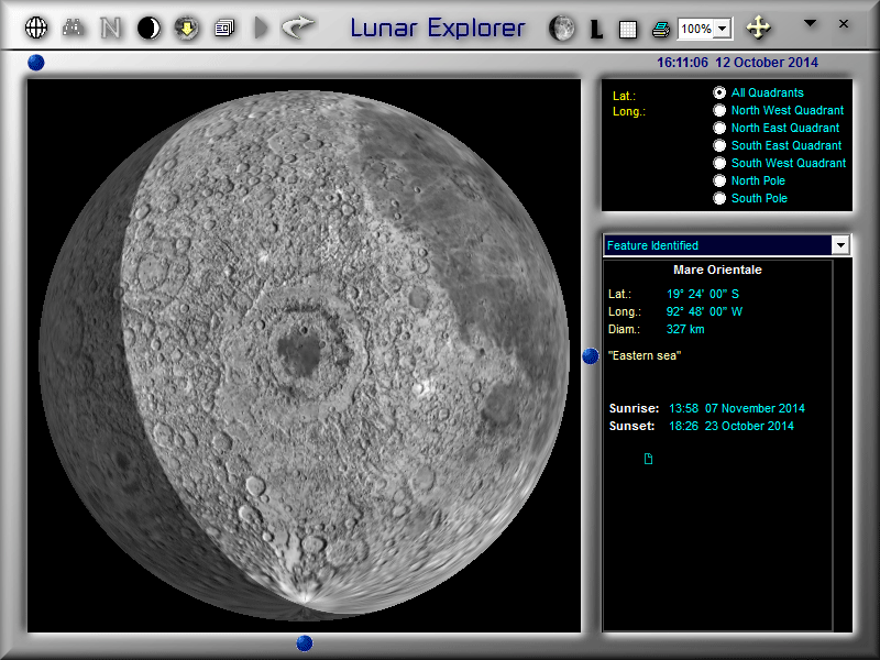 Overhead views of features (like Mare Orientale) in LunarPhase Pro