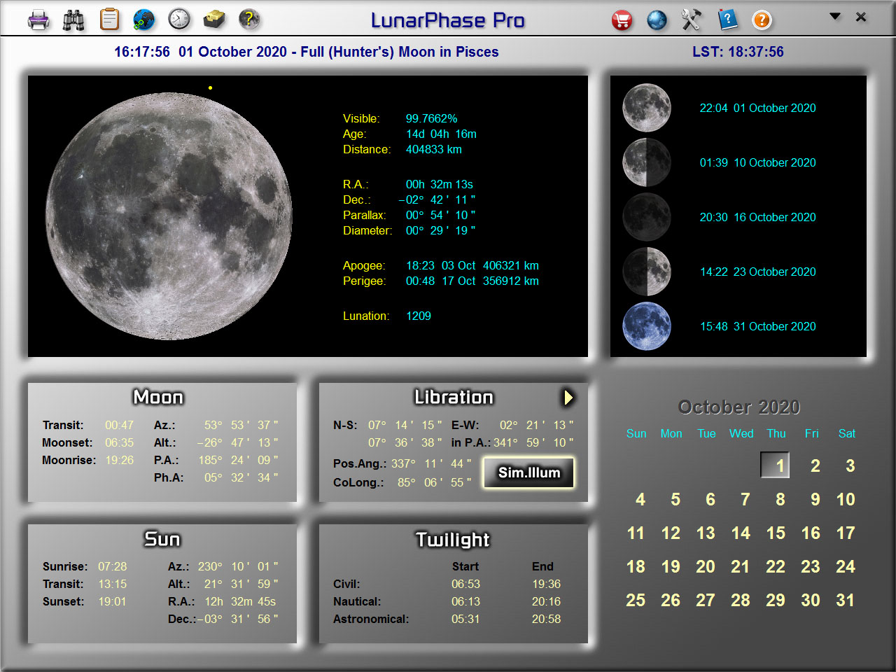 LunarPhase Pro's Main Screen