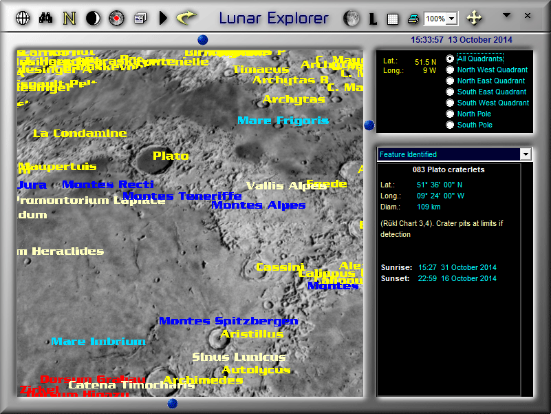 Labelled lunar features in LunarPhase Pro