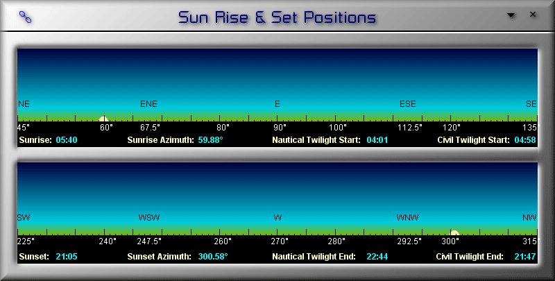 Positions of Sunrise and Sunset in LunarPhase Pro