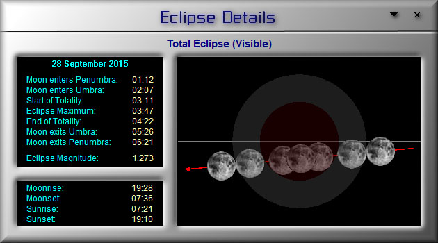 Lunar Eclipse Circumstances in LunarPhase Pro