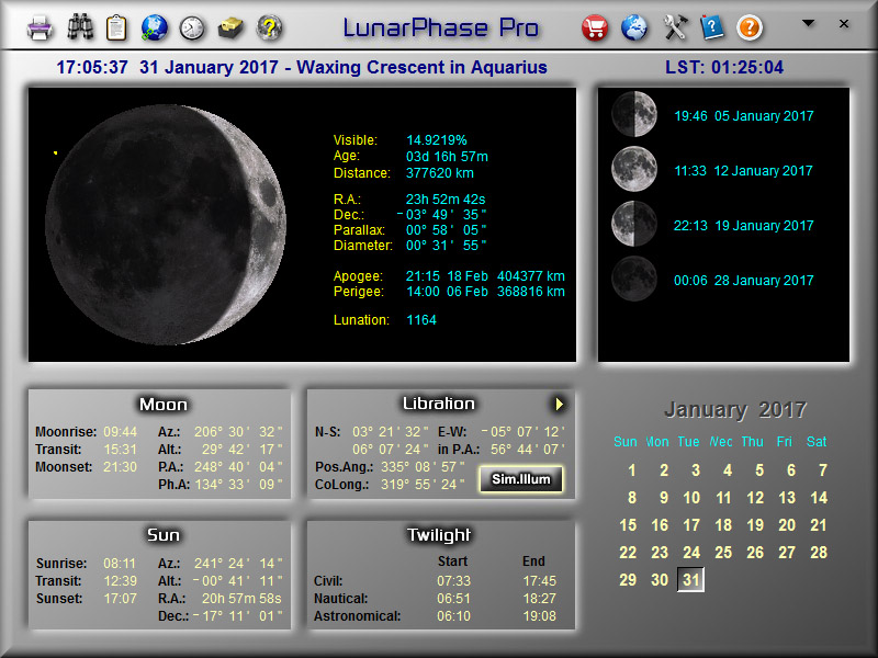 LunarPhase Pro Main Screen 800x600