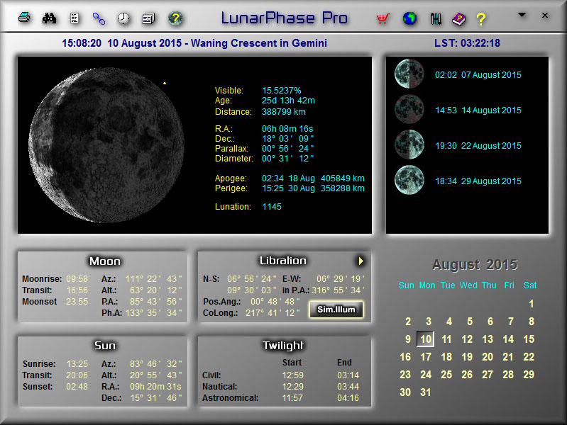 LunarPhase Pro Main Screen